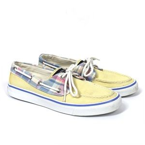 Yellow Sperry Topsider Plaid Lace Up Boat Shoes